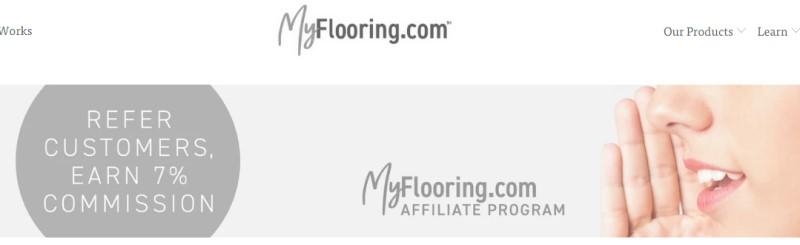 screenshot of the myflooring affiliate webpage
