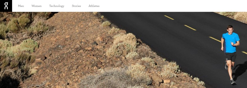 screenshot of the On Running website featuring a man in blue running down a road