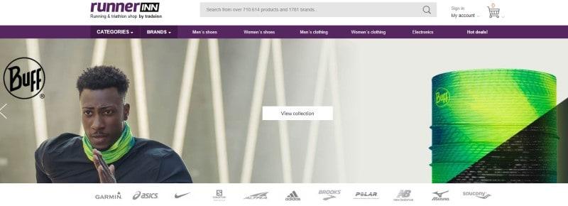 screenshot of the runnerinn website