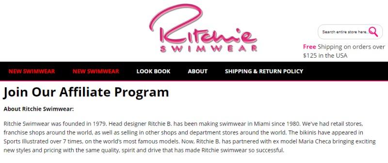 screenshot of the ritchie swimwear affiliate website