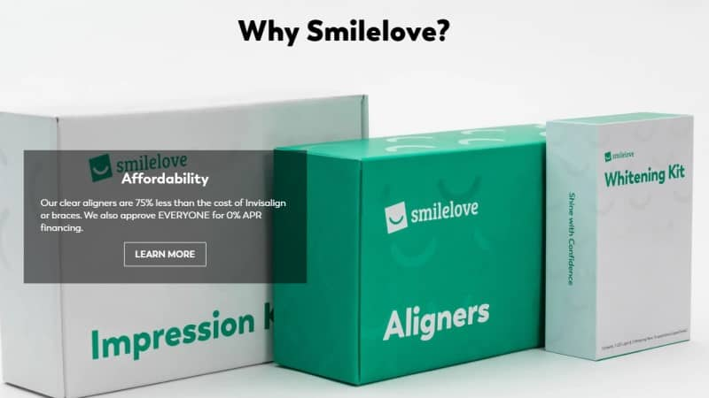 screenshot of the smilelove website
