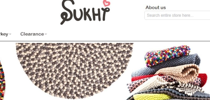 screenshot of the sukhi website