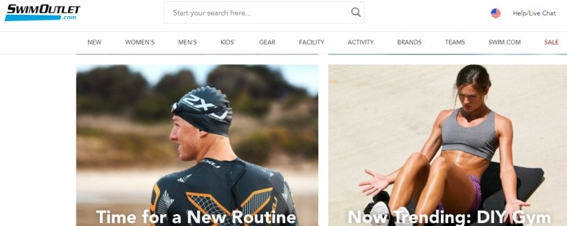 screenshot of a woman working out on the beach and a man in a wetsuit on the swimoutlet.com website