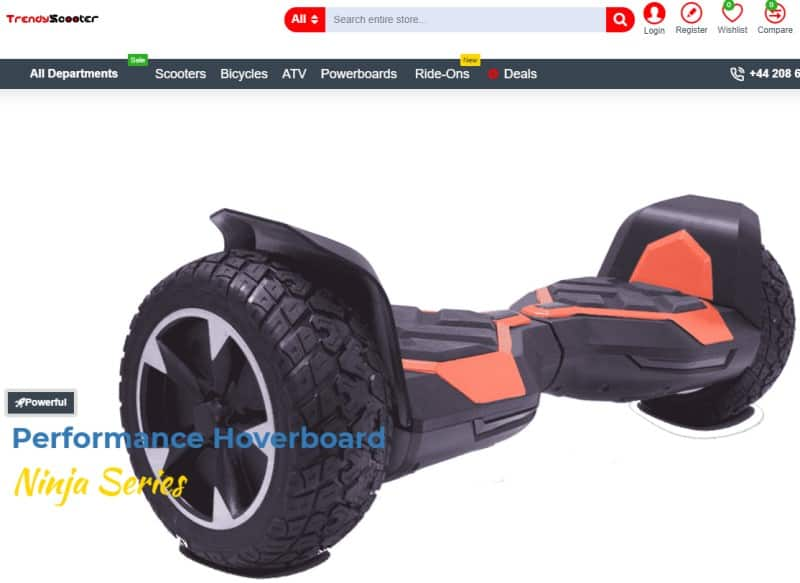 screenshot of the trendy scooter website