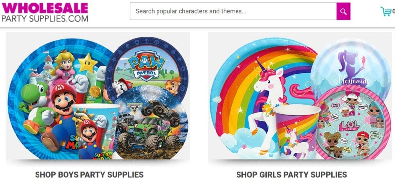 wholesale party supplies screenshot
