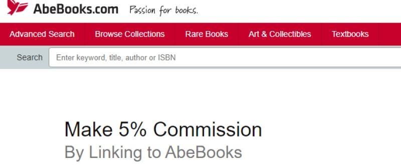 screenshot of the ABEbooks affiliate program