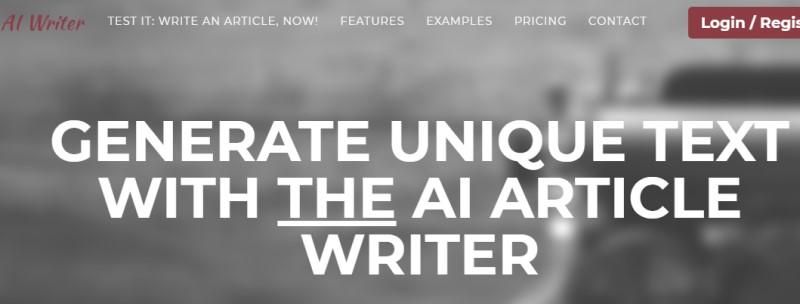 screenshot of the AI Writer Website