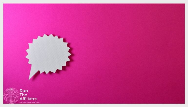 white chat bubble against a pink background