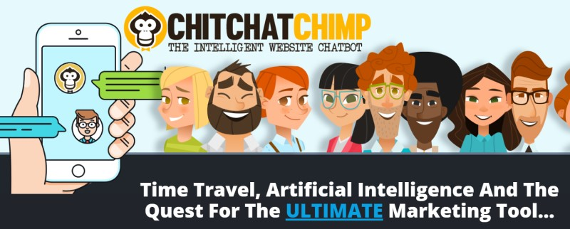 screenshot of the chit chat chimp website featuring animated people using the app