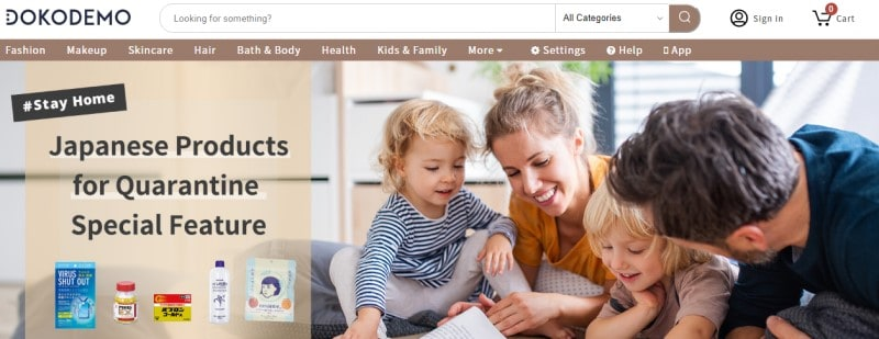 screenshot of the dokodemo website featuring a family reading together