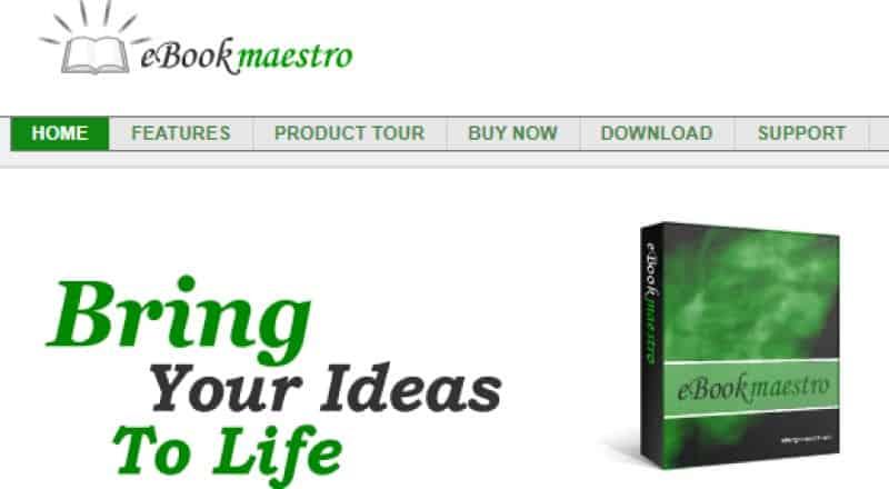 screenshot of the ebook maestro website