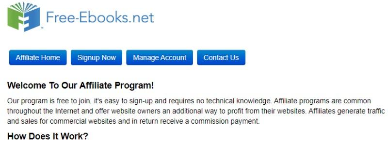 screenshot of the free-ebooks.net affiliate program website