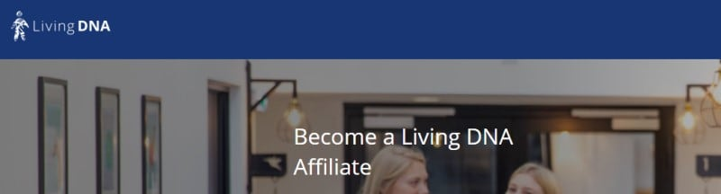 screenshot of the living dna affiliate webpage