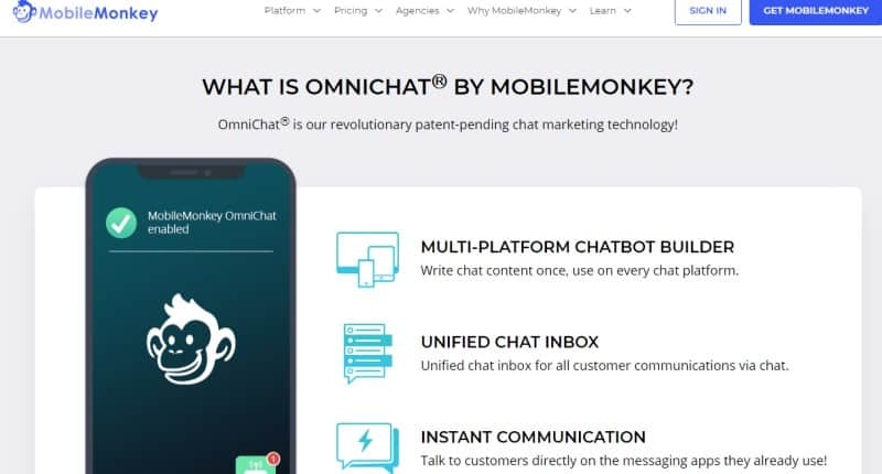 screenshot of the mobile monkey website
