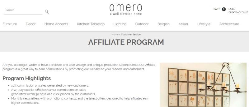 screenshot of the omero affiliate program webpage
