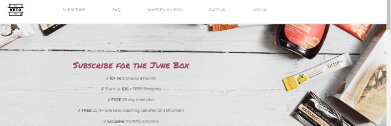 screenshot of the keto box website