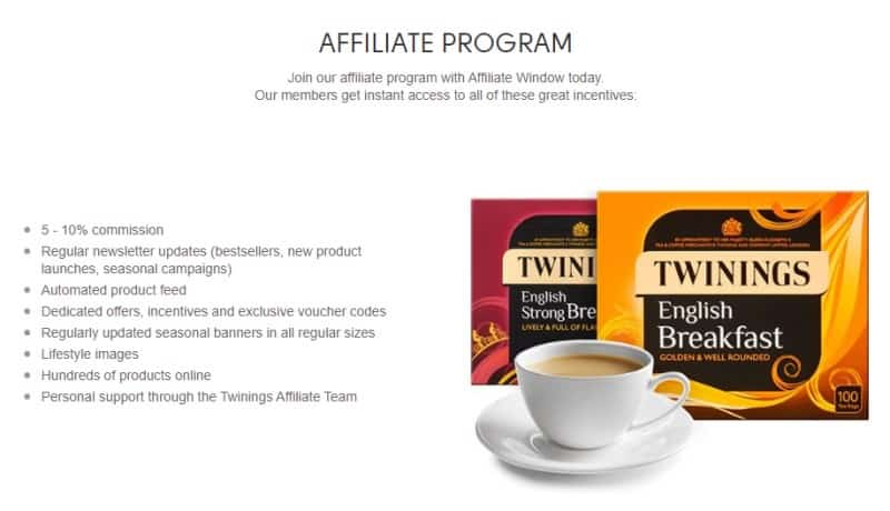 screenshot of the twinings affiliate program website