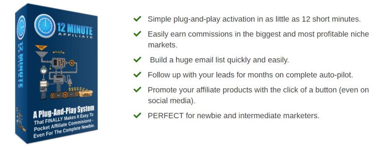 screenshot of the 12 minute affiliate website