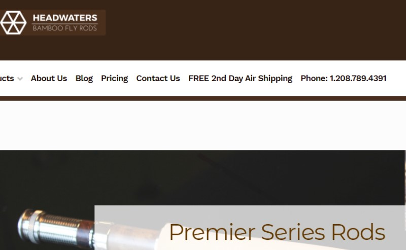 screenshot of the headwaters bamboo website