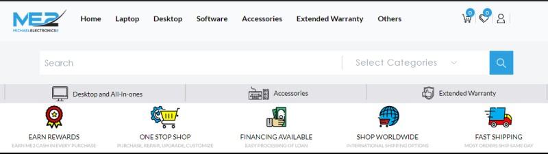 screenshot of the MichaelElectronics2's website