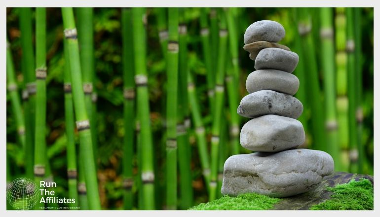 rocks stacked in fron of a bamboo forest