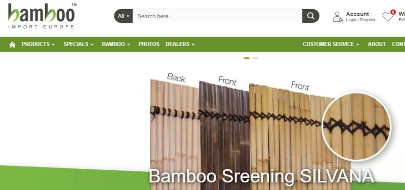 screenshot of the bamboo import europe website