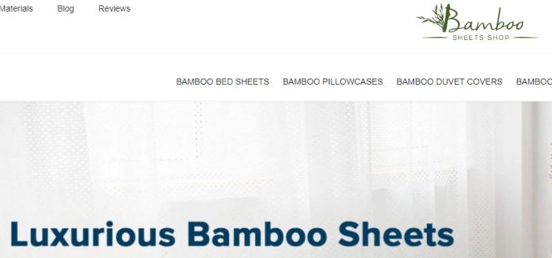 screenshot of the bamboo sheet shop website