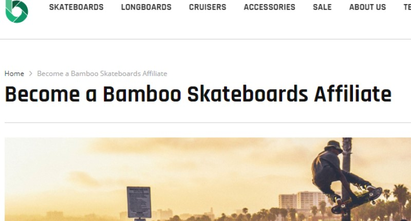 screenshot of the bamboo skateboards affiliate program webpage