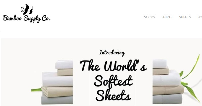 screenshot of the Bamboo Supply Co. website