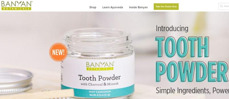 screenshot of the banyan botanicals website.