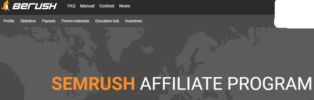 screenshot of the semrush affiliate prgoram website