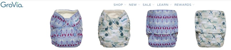 screenshot of the grovia website feature a selection of their cloth diaper products on display