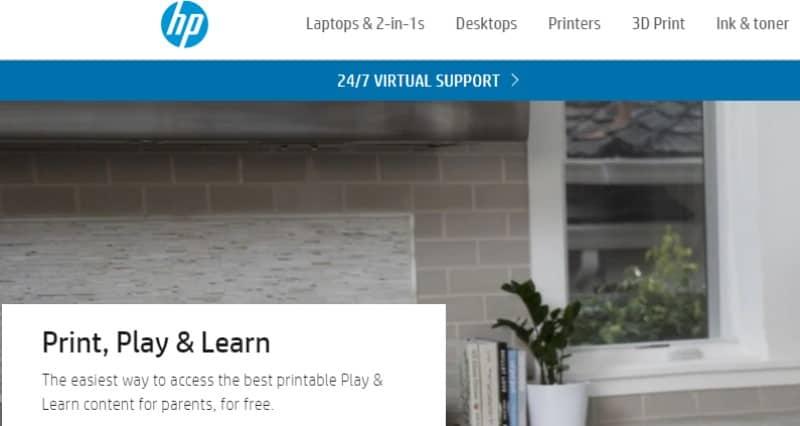 screeenshot of HP website