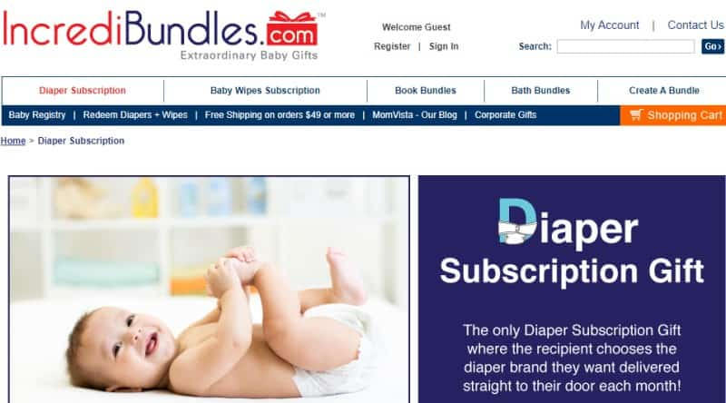 screenshot of the incredibundles website features a baby wearing a diaper