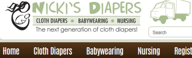 screenshot of nicki diaper website