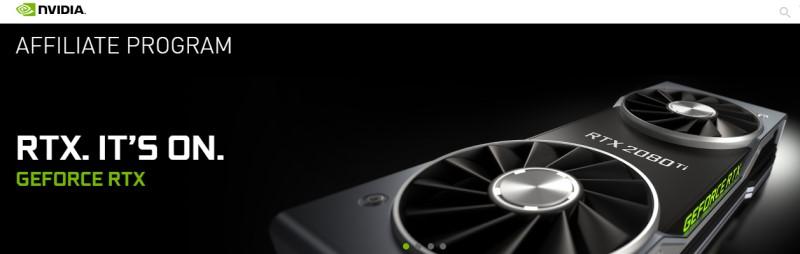 screenshot of nvidia affiliate webpage