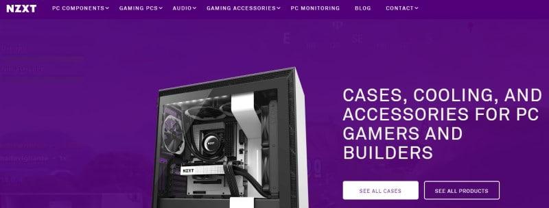 screenshot of the NZXT website