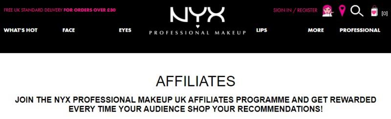 screenshot of the NYX Website