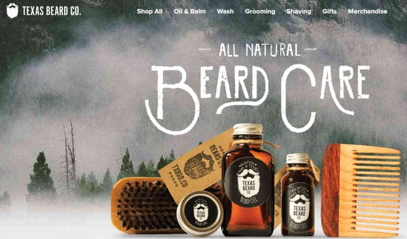 screenshot of the texas beard company website featuring some of their products