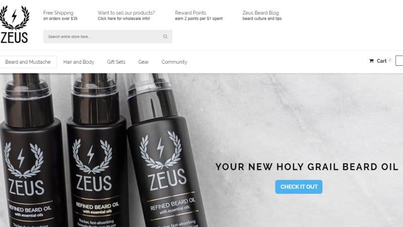 zeus beard website screenshot