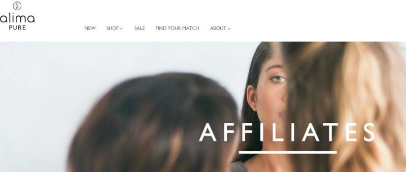 screenshot of the alima pure website