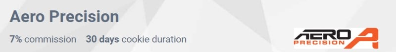 screenshot of the aero precision affiliate program