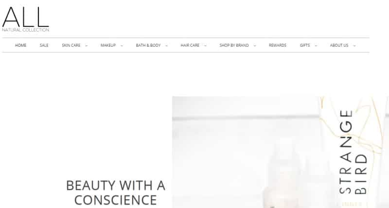 screenshot of the All Natural Collection website
