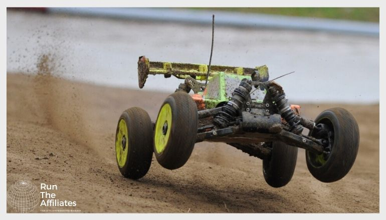 rc car driving on a dirt track