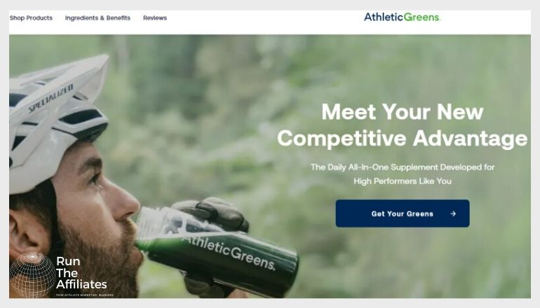 screenshot of the athletic greens website featuring a man drinking athletic greens supplement