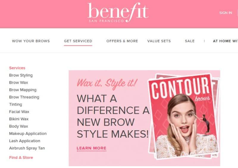 screenshot of the benefit cosmetics website