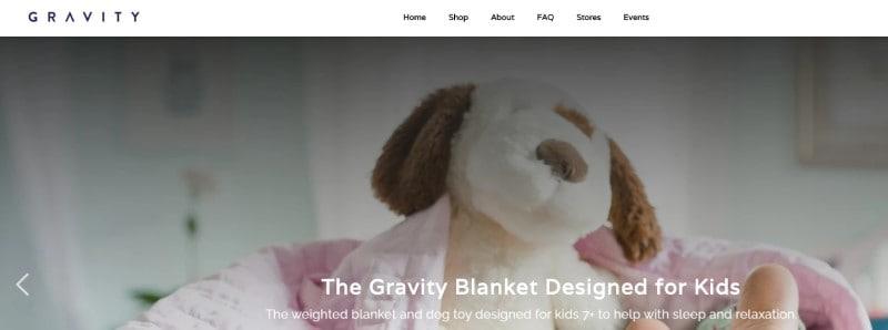 screen shot of the gravity blanket website