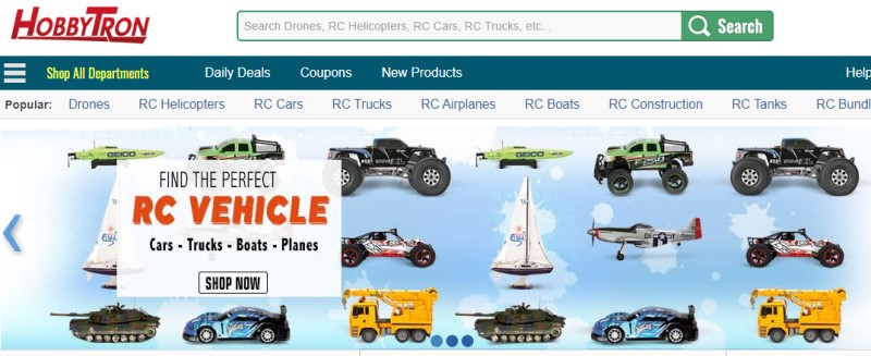 screenshot of the hobbytron website
