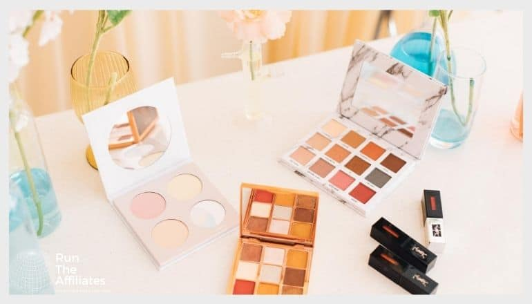cosmetics and make-up on a table