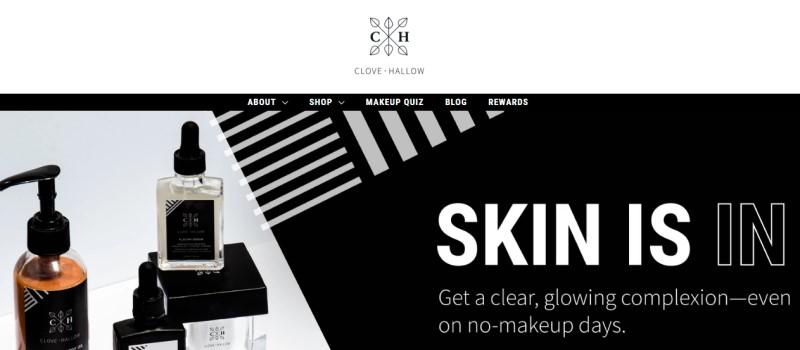 screenshot of the clove and hallow website